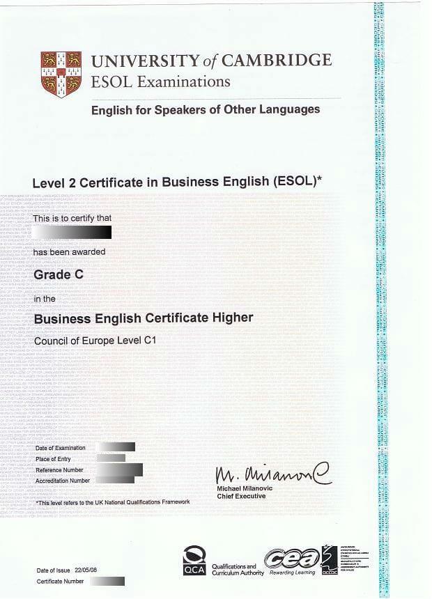 BEC examen certificado
