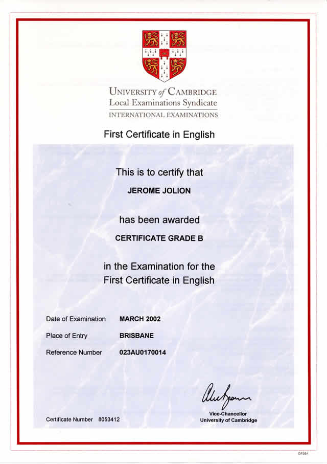 first certificate examen