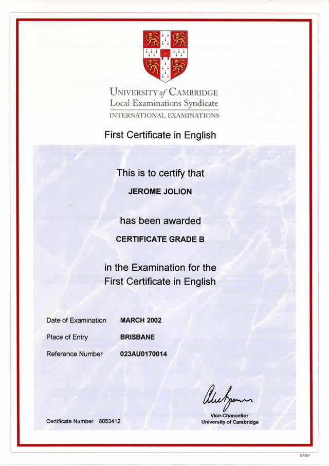 certificado del First b2
