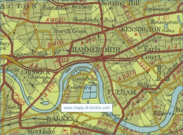 En la imagen podeis verel río Támesis pasando por el lado de Hammersmith.