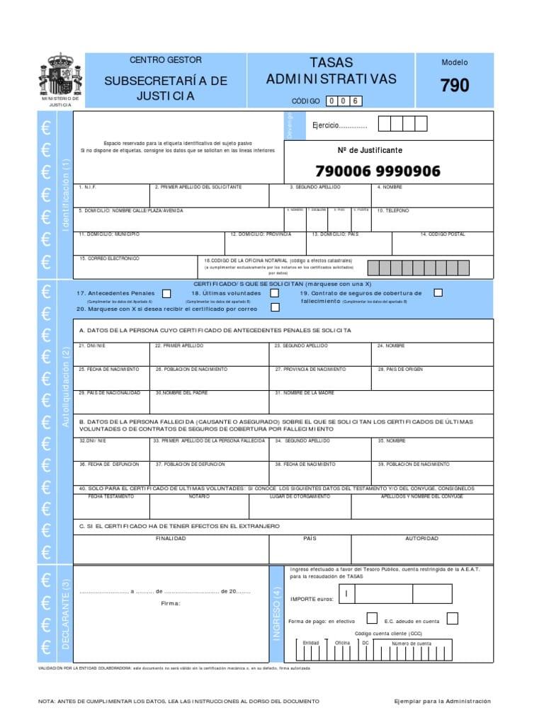 Modelo 790 para conseguir el certificado de antecedentes penales