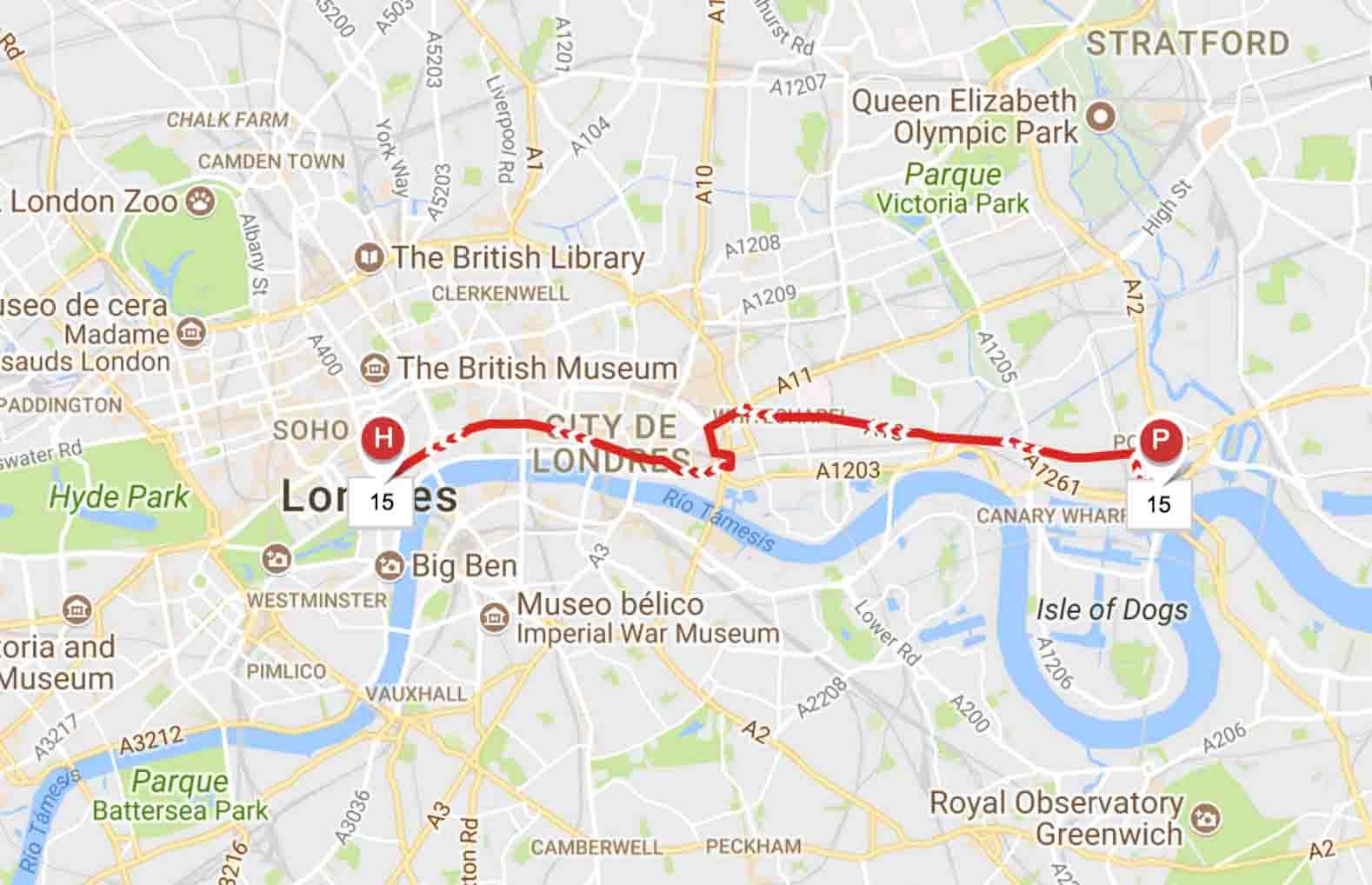 Precio billete de línea 159 autobús Londres