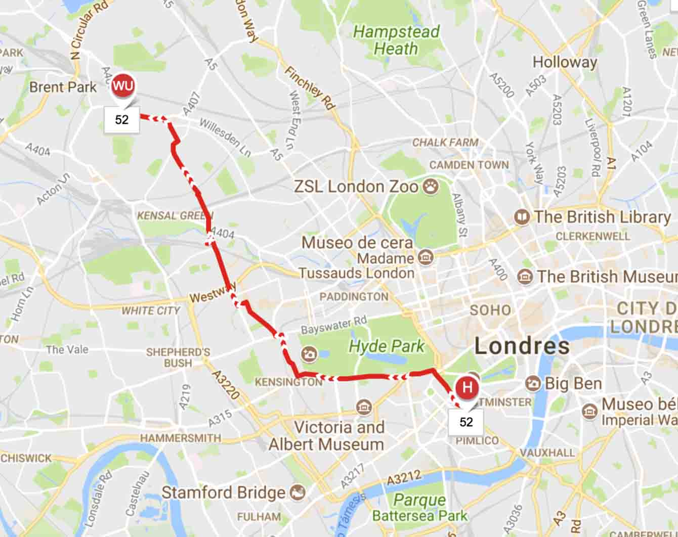 Horarios y símbolo del autobús de Londre