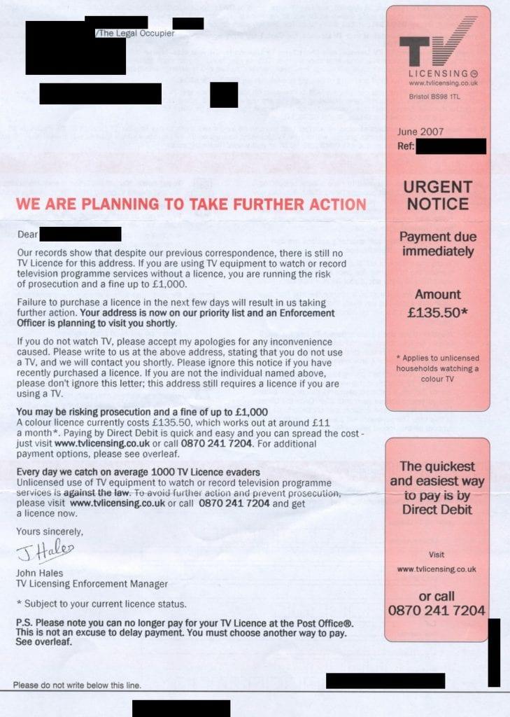 Pagar TV licence en UK