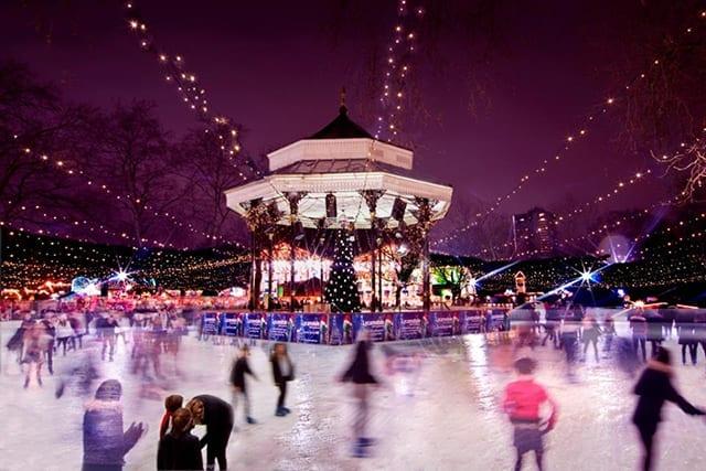 Patinaje sobre hielo en Navidad en Londres