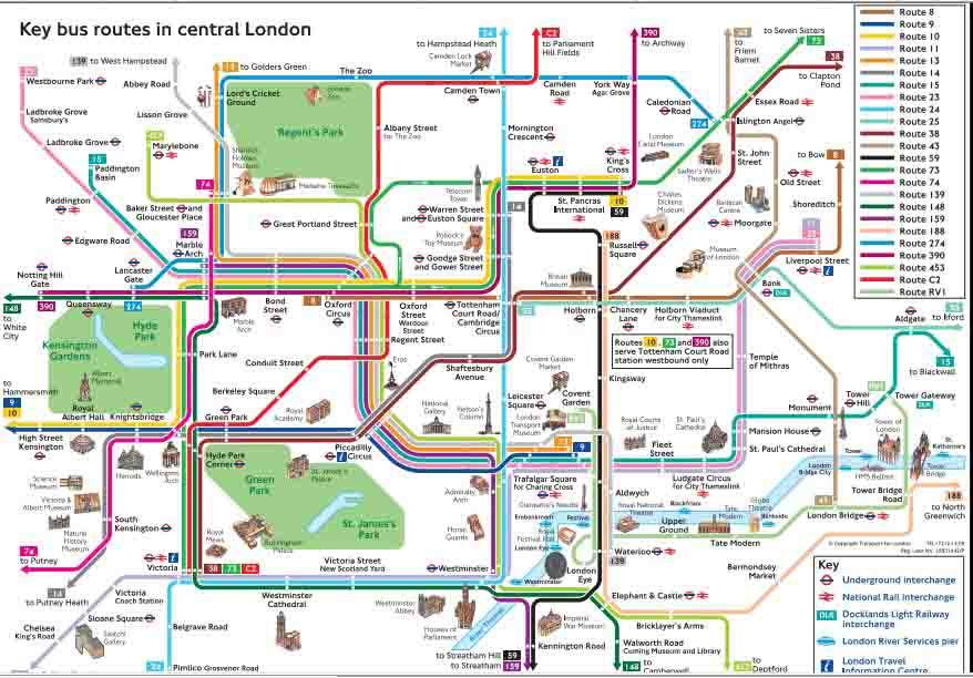 Mapa autobús Londres
