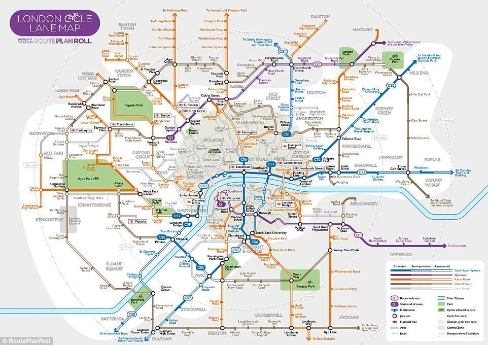 Mapa de rutas y alquiler de bicicleta en Londres
