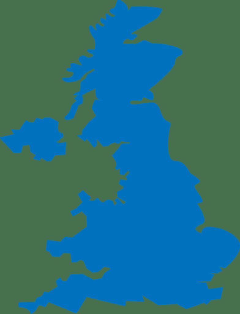 Mapa de todos los países de Reino Unido
