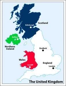 Estudiar inglés, Vivir y buscar trabajo en edimburgo mapa reino unido