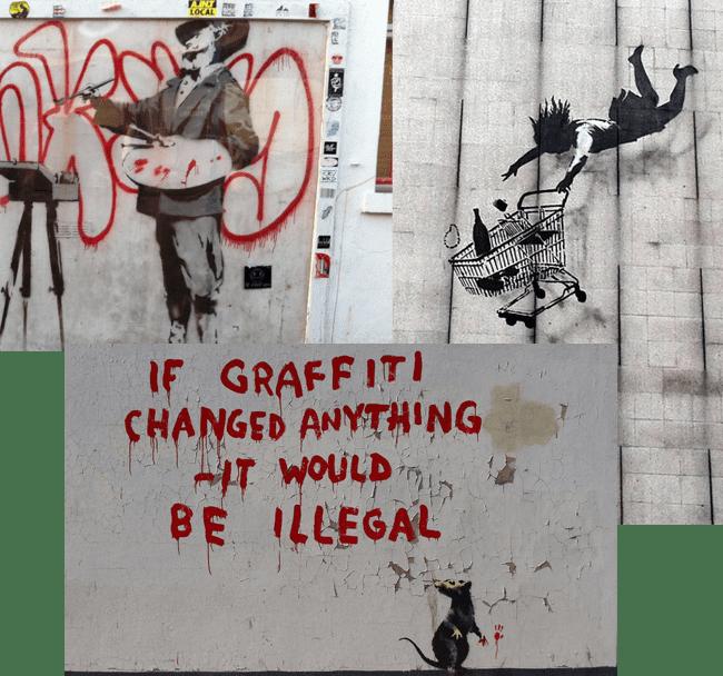 Izda.: Graffiti painter | Dcha.: Falling shopper | Abajo: If graffiti changed anything