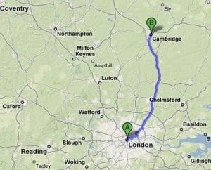 Precio y kilómetros entre Cambridge y Londres