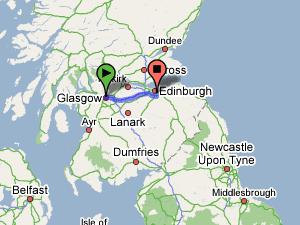 ir de edimburgo a Glasgow en diferentes medios de transporte