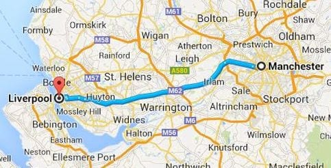 Distancia y tiempo para ir del aeropuerto de Manchester a Liverpool