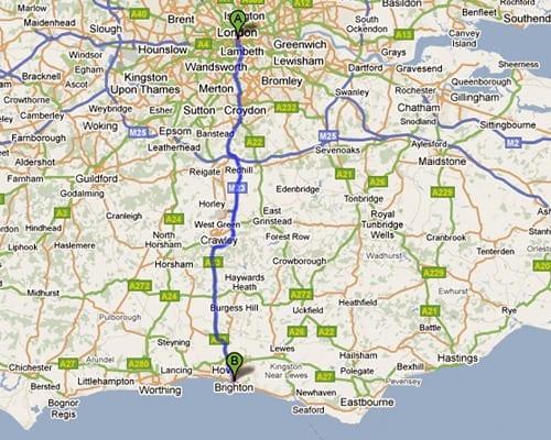 Ir de Londres a Brighton en Reino Unido en coche