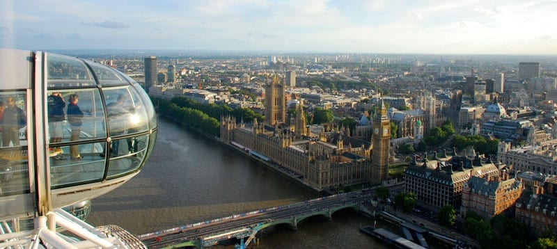 Las vistas de Londres desde el London Eye