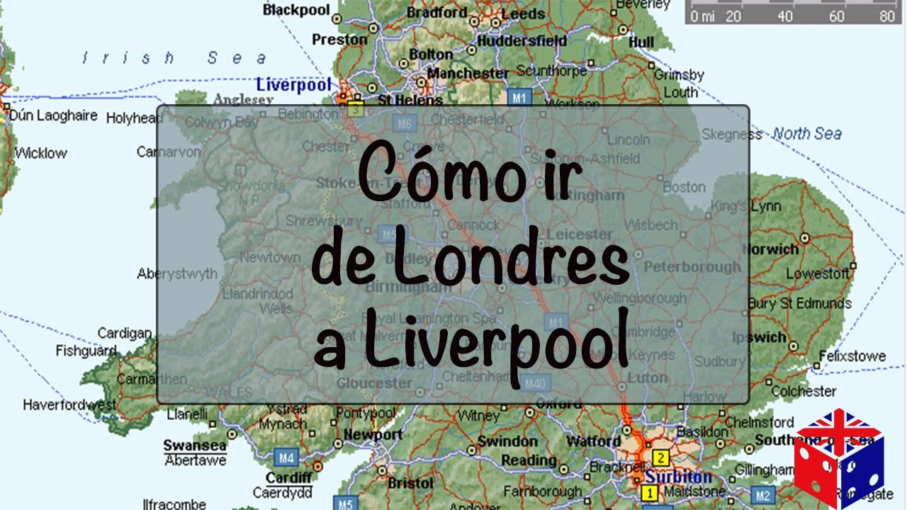 Ver en el mapa cómo ir de Londres a la ciudad de Liverpool