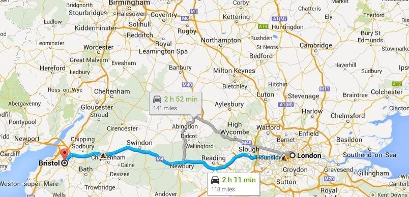Ir de la ciudad de Londres a Bristol en tren