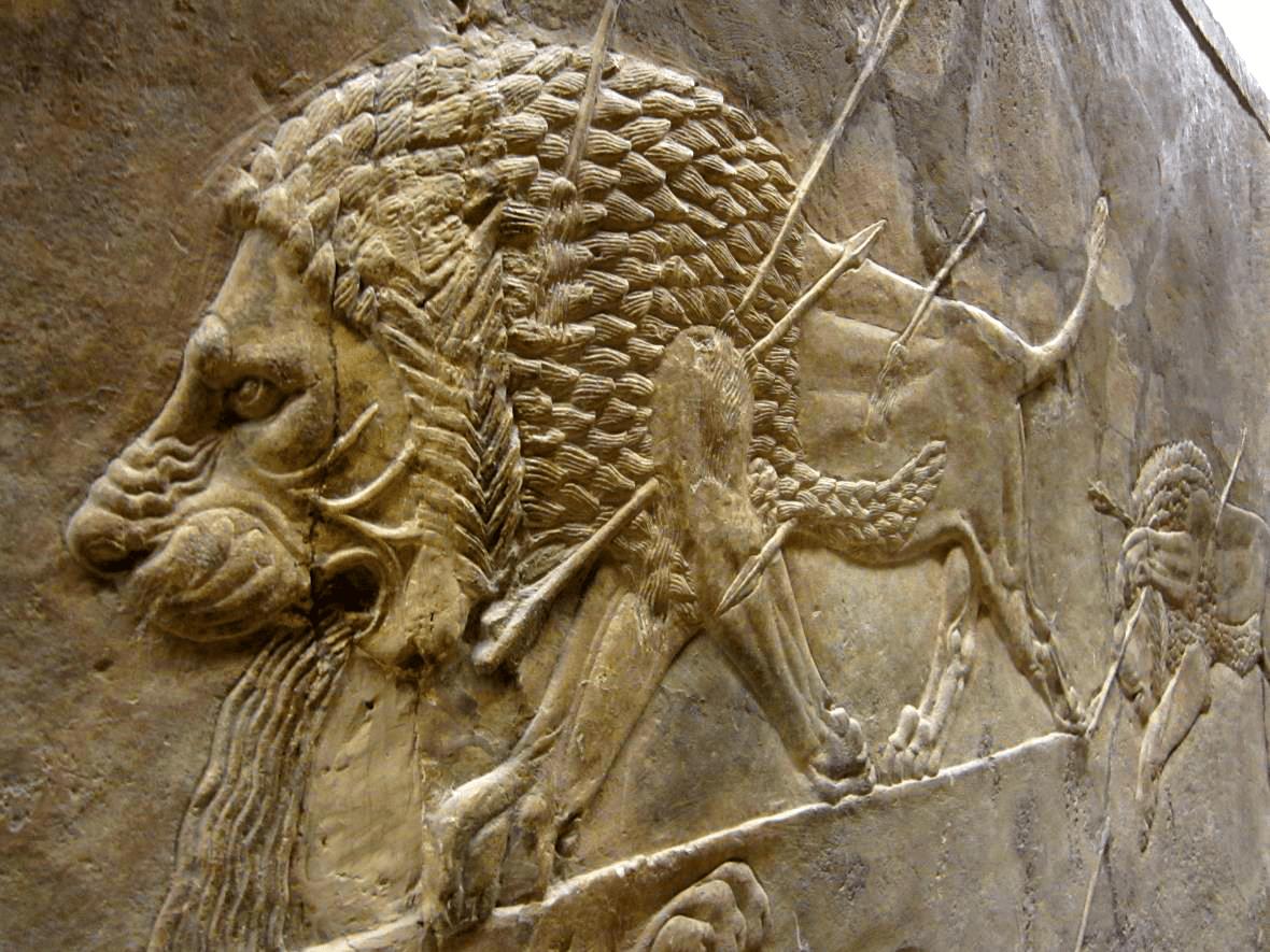 Representación exquisita de la caza real del león