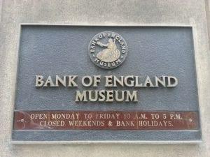 Horario del Bank of England Museum, museo del dinero