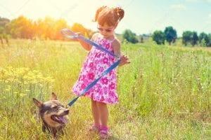 niña paseando al perro