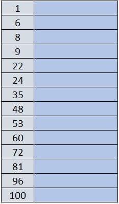 ejercicio numeros ingles