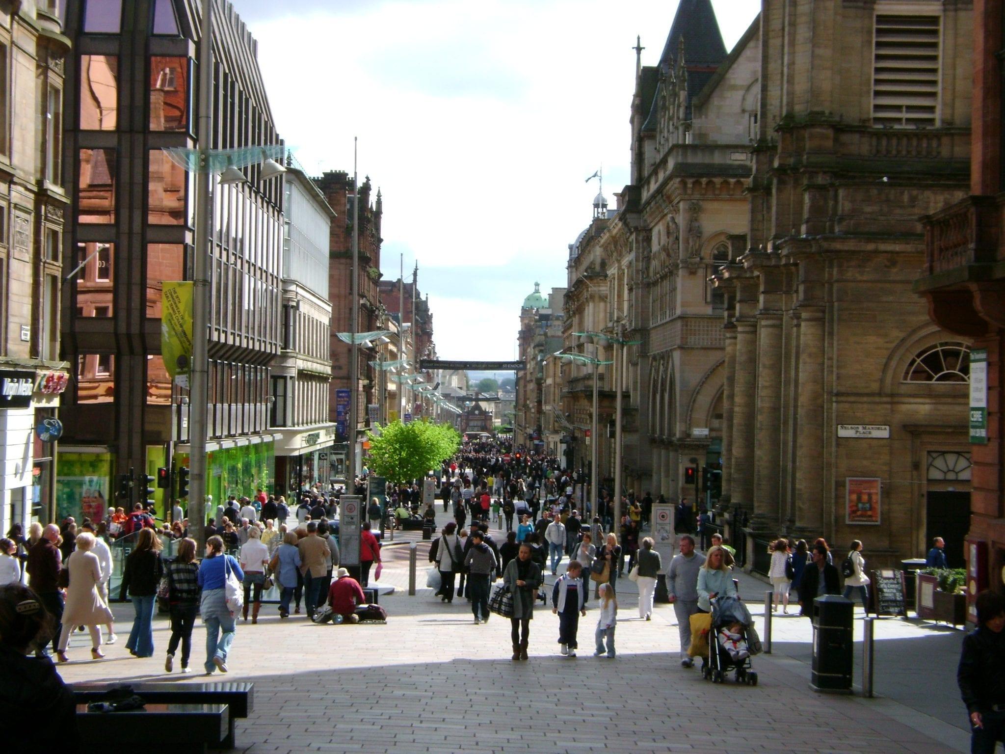centro de Glasgow donde comer buscar alojamiento