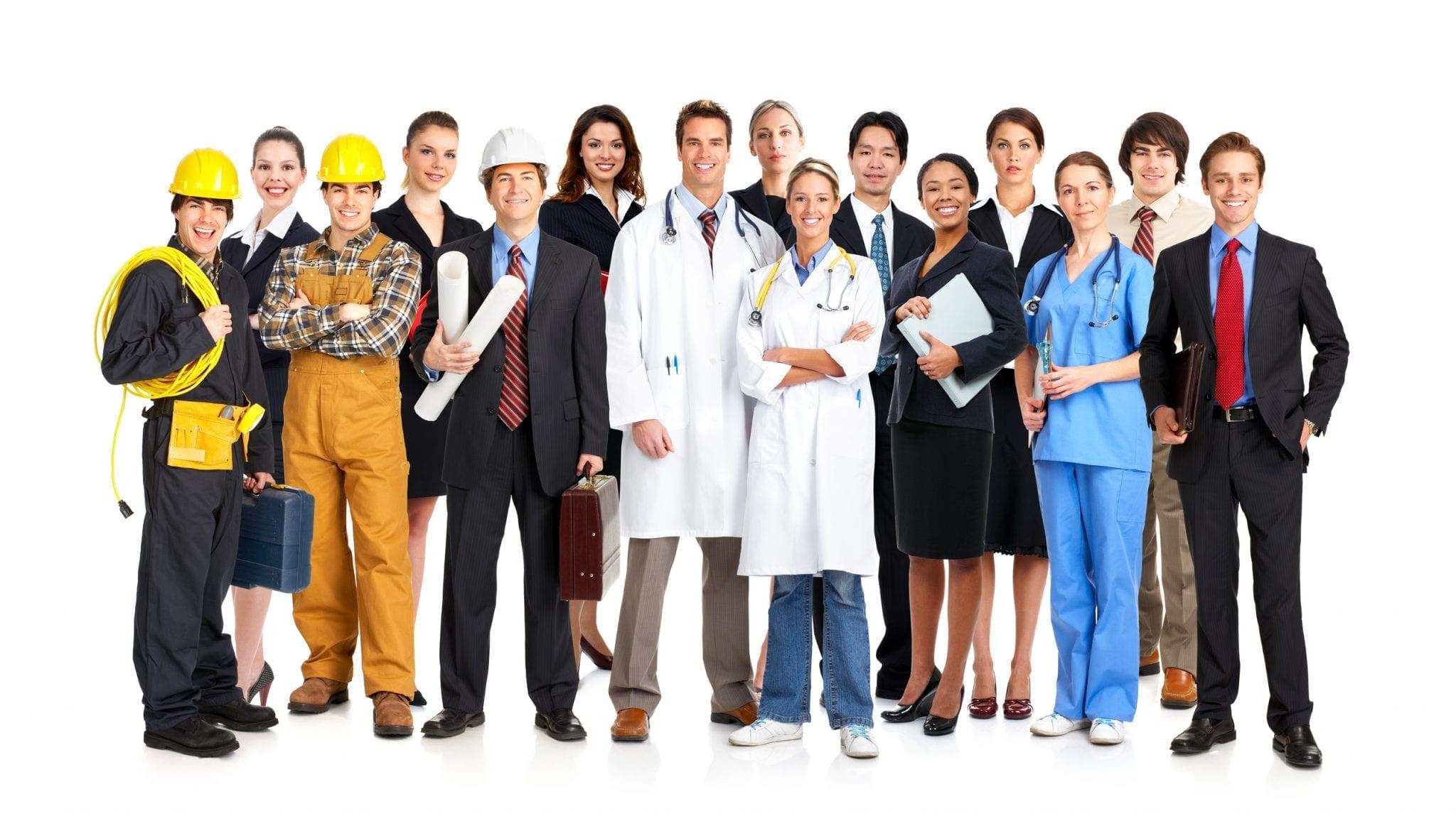 personas de diferentes profesiones en ingles
