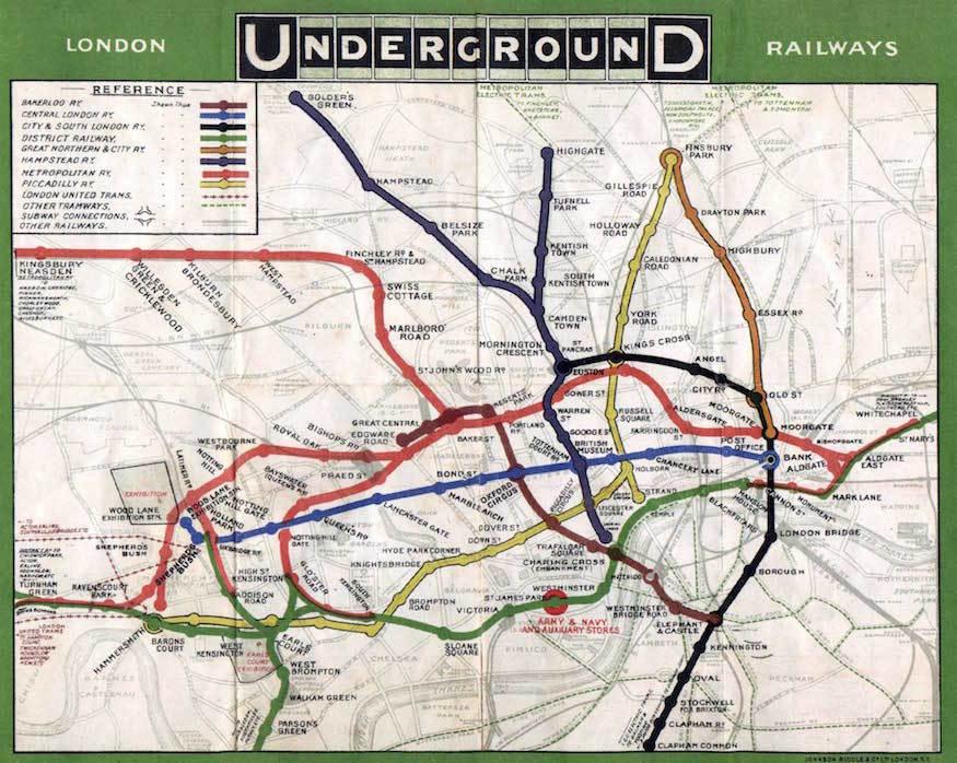 Estaciones en el mapa interactivo o plano del metro de Londres