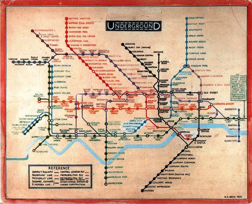 Horario y zonas del metro o tube de Londres en el mapa