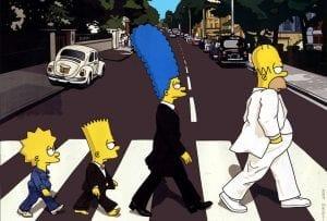 la fama de abbey road con otros personajes cruzando