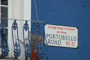 Insegna del mercatino di Portobello Road