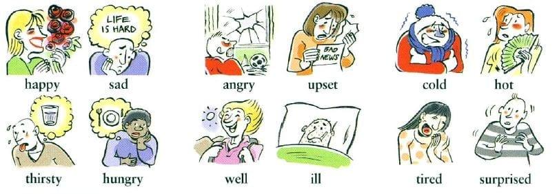 emociones y sentimientos en ingles