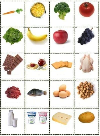 ejercicio comida ingles vocabulario