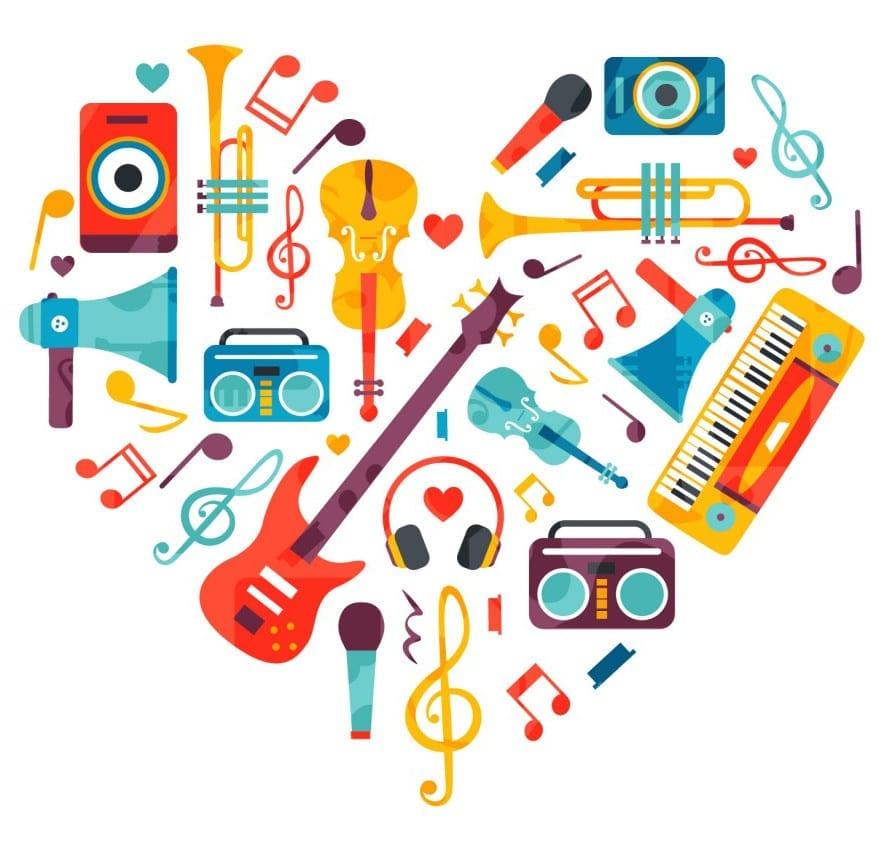 corazon con instrumentos de musica en ingles