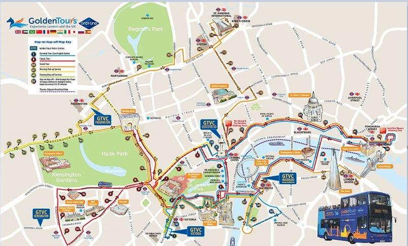 Autobus turístico rutas de golden tour