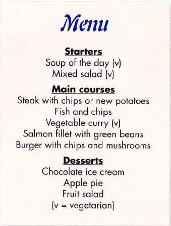 vocabulario restaurante inglés