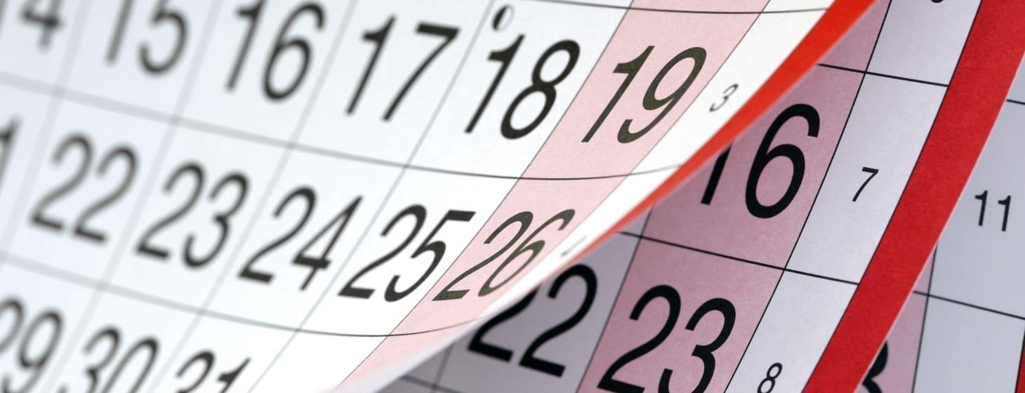 calendario con fecha en ingles