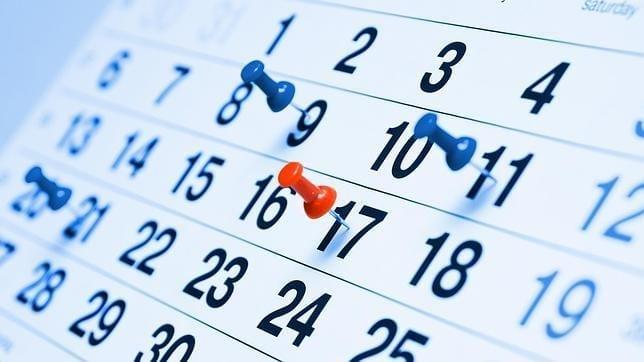 calendario con festivos y vacaciones en ingles