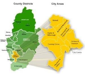 Vivir en Nottingham, Inglaterra: Barrios Nottingham españoles viven en la ciudad