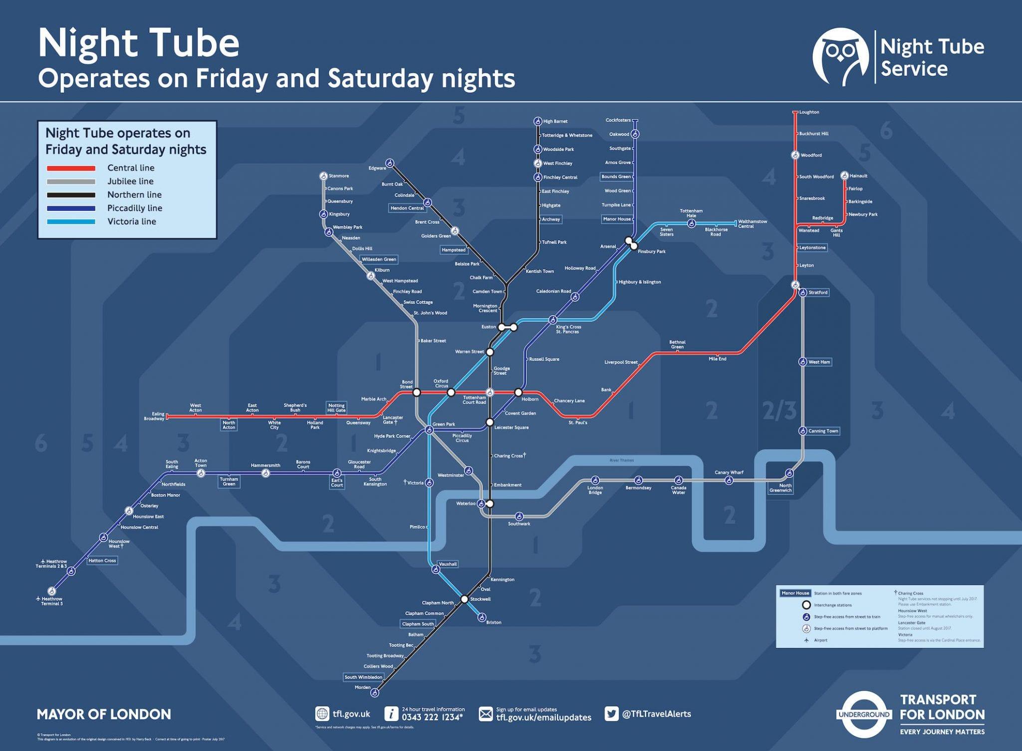 Mapa o Plano, horarios y zonas del metro de Londres