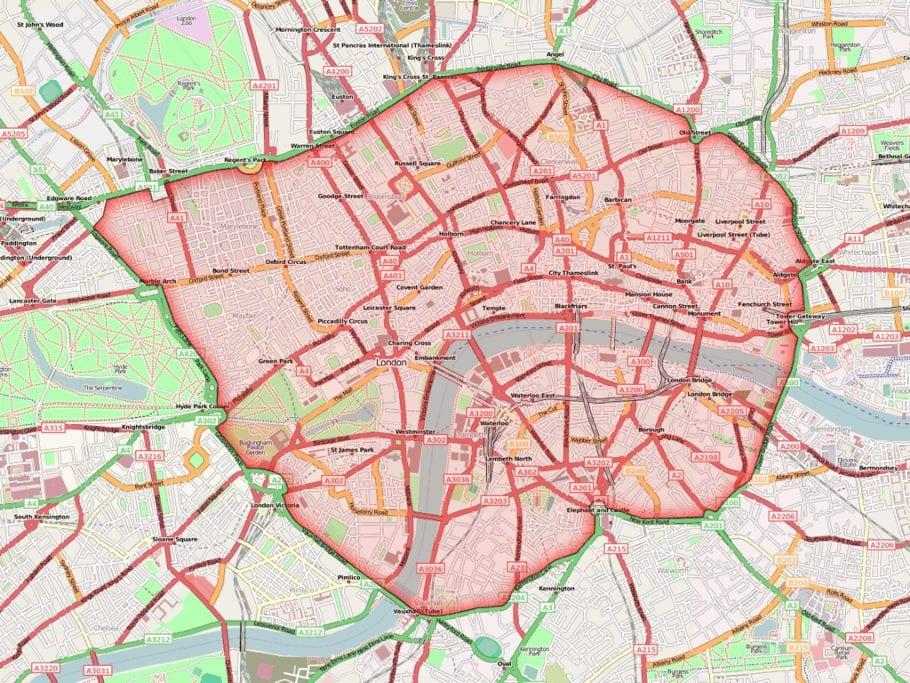 Mapa Zona de congestión de Londres
