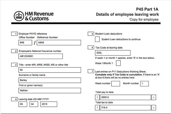Declaración Impuestos o tasas en Inglaterra o UK: Documentos laborales de Inglaterra: P45 fiscal