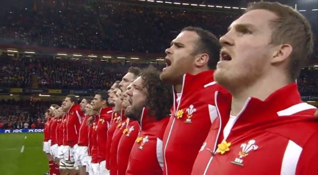 pasiva: himno de gales antes del partido de rugby