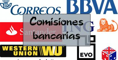 Comisiones bancarias en diferentes cuentas y transferencias