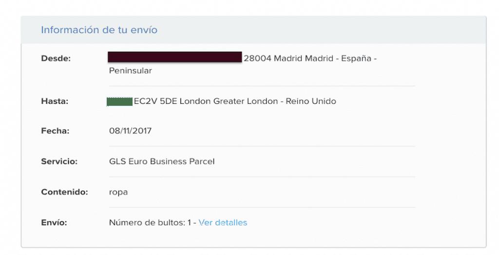 Pago del envío o mensajería de cajas o pack de Packlink a UK