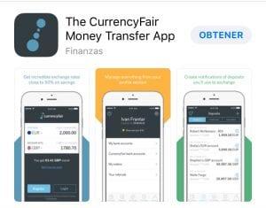 Aplicación de CurrencyFair para móvil