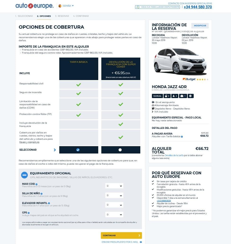 Alquilar coche con AutoEurope. Hacer la reserva