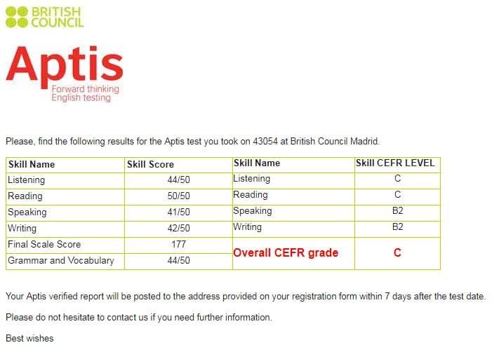 Resultados finales del examen APTIS