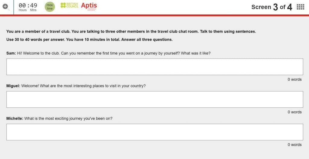 Quinto modelo del ejercicio de Writing del examen APTIS