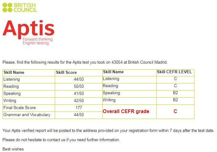 Resultados del examen de inglés APTIS